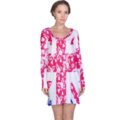British Flag Abstract British Union Jack Flag In Abstract Design With Flowers Long Sleeve Nightdress