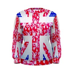 British Flag Abstract British Union Jack Flag In Abstract Design With Flowers Women s Sweatshirt