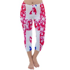 British Flag Abstract British Union Jack Flag In Abstract Design With Flowers Capri Winter Leggings