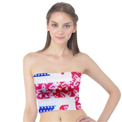 British Flag Abstract British Union Jack Flag In Abstract Design With Flowers Tube Top