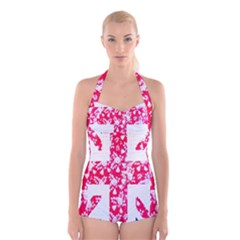 British Flag Abstract British Union Jack Flag In Abstract Design With Flowers Boyleg Halter Swimsuit