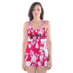 British Flag Abstract British Union Jack Flag In Abstract Design With Flowers Skater Dress Swimsuit