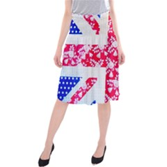 British Flag Abstract British Union Jack Flag In Abstract Design With Flowers Midi Beach Skirt