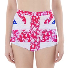 British Flag Abstract British Union Jack Flag In Abstract Design With Flowers High-Waisted Bikini Bottoms