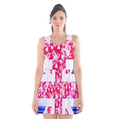 British Flag Abstract British Union Jack Flag In Abstract Design With Flowers Scoop Neck Skater Dress