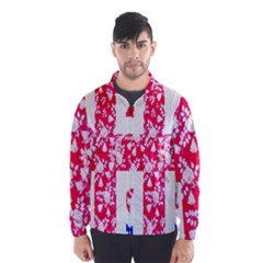 British Flag Abstract British Union Jack Flag In Abstract Design With Flowers Wind Breaker (men)