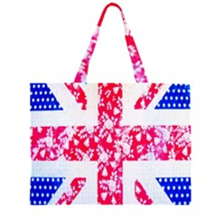 British Flag Abstract British Union Jack Flag In Abstract Design With Flowers Large Tote Bag