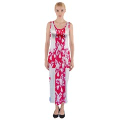 British Flag Abstract British Union Jack Flag In Abstract Design With Flowers Fitted Maxi Dress