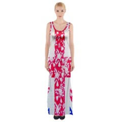 British Flag Abstract British Union Jack Flag In Abstract Design With Flowers Maxi Thigh Split Dress