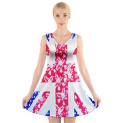 British Flag Abstract British Union Jack Flag In Abstract Design With Flowers V Neck Sleeveless Skater Dress