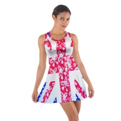 British Flag Abstract British Union Jack Flag In Abstract Design With Flowers Cotton Racerback Dress