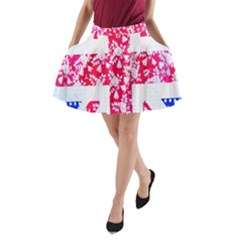 British Flag Abstract British Union Jack Flag In Abstract Design With Flowers A-Line Pocket Skirt