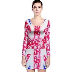 British Flag Abstract British Union Jack Flag In Abstract Design With Flowers Long Sleeve Velvet Bodycon Dress