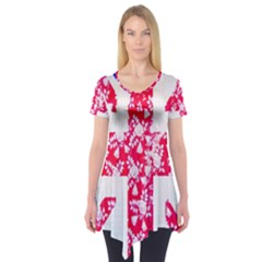 British Flag Abstract British Union Jack Flag In Abstract Design With Flowers Short Sleeve Tunic