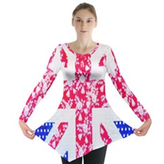 British Flag Abstract British Union Jack Flag In Abstract Design With Flowers Long Sleeve Tunic
