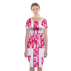 British Flag Abstract British Union Jack Flag In Abstract Design With Flowers Classic Short Sleeve Midi Dress