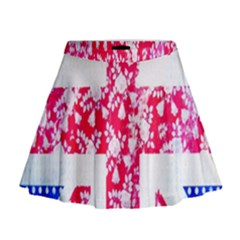 British Flag Abstract British Union Jack Flag In Abstract Design With Flowers Mini Flare Skirt