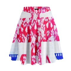 British Flag Abstract British Union Jack Flag In Abstract Design With Flowers High Waist Skirt