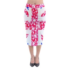 British Flag Abstract British Union Jack Flag In Abstract Design With Flowers Midi Pencil Skirt