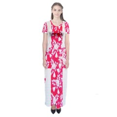 British Flag Abstract British Union Jack Flag In Abstract Design With Flowers Short Sleeve Maxi Dress