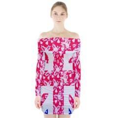 British Flag Abstract British Union Jack Flag In Abstract Design With Flowers Long Sleeve Off Shoulder Dress