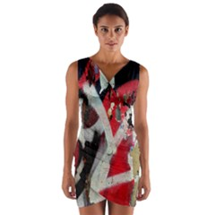 Abstract Graffiti Background Wallpaper Of Close Up Of Peeling Wrap Front Bodycon Dress