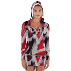 Abstract Graffiti Background Wallpaper Of Close Up Of Peeling Women s Long Sleeve Hooded T-shirt