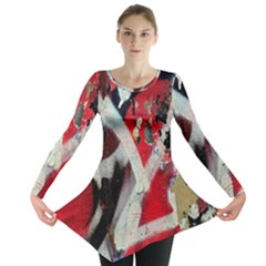 Abstract Graffiti Background Wallpaper Of Close Up Of Peeling Long Sleeve Tunic