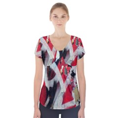 Abstract Graffiti Background Wallpaper Of Close Up Of Peeling Short Sleeve Front Detail Top