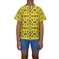 Yellow Seamless Wallpaper Digital Computer Graphic Kids  Short Sleeve Swimwear