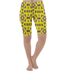 Yellow Seamless Wallpaper Digital Computer Graphic Cropped Leggings