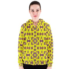 Yellow Seamless Wallpaper Digital Computer Graphic Women s Zipper Hoodie