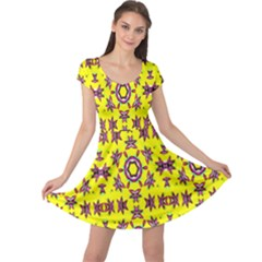Yellow Seamless Wallpaper Digital Computer Graphic Cap Sleeve Dresses