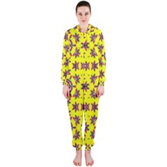 Yellow Seamless Wallpaper Digital Computer Graphic Hooded Jumpsuit (ladies)