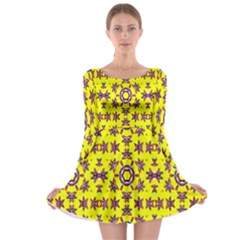 Yellow Seamless Wallpaper Digital Computer Graphic Long Sleeve Skater Dress