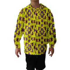 Yellow Seamless Wallpaper Digital Computer Graphic Hooded Wind Breaker (Kids)