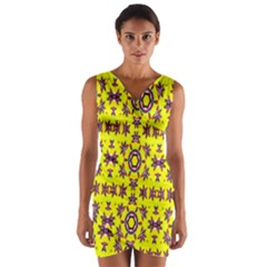 Yellow Seamless Wallpaper Digital Computer Graphic Wrap Front Bodycon Dress