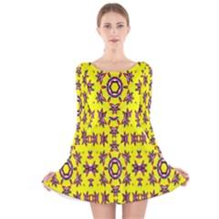 Yellow Seamless Wallpaper Digital Computer Graphic Long Sleeve Velvet Skater Dress