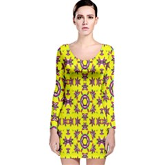 Yellow Seamless Wallpaper Digital Computer Graphic Long Sleeve Velvet Bodycon Dress