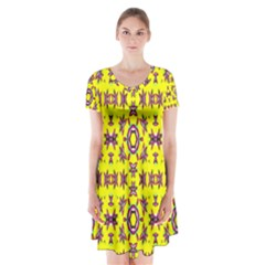 Yellow Seamless Wallpaper Digital Computer Graphic Short Sleeve V-neck Flare Dress