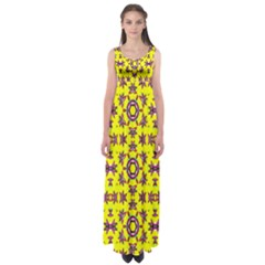 Yellow Seamless Wallpaper Digital Computer Graphic Empire Waist Maxi Dress