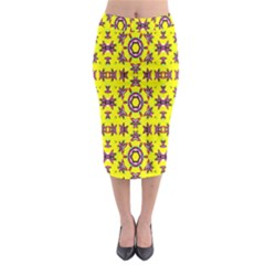 Yellow Seamless Wallpaper Digital Computer Graphic Midi Pencil Skirt