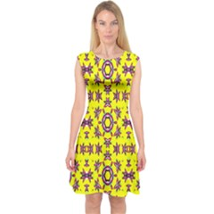 Yellow Seamless Wallpaper Digital Computer Graphic Capsleeve Midi Dress