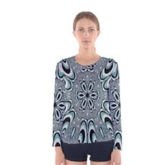 Kaleidoskope Digital Computer Graphic Women s Long Sleeve Tee
