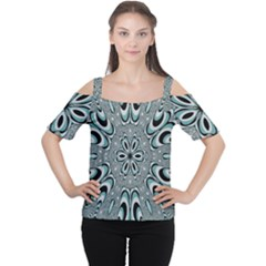 Kaleidoskope Digital Computer Graphic Women s Cutout Shoulder Tee
