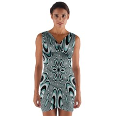 Kaleidoskope Digital Computer Graphic Wrap Front Bodycon Dress