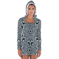Kaleidoskope Digital Computer Graphic Women s Long Sleeve Hooded T-shirt