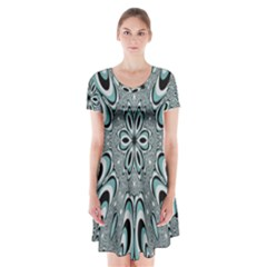 Kaleidoskope Digital Computer Graphic Short Sleeve V-neck Flare Dress