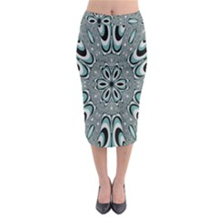 Kaleidoskope Digital Computer Graphic Midi Pencil Skirt