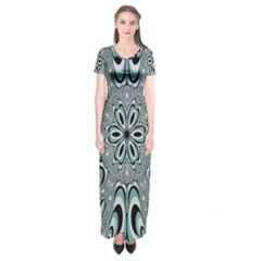 Kaleidoskope Digital Computer Graphic Short Sleeve Maxi Dress